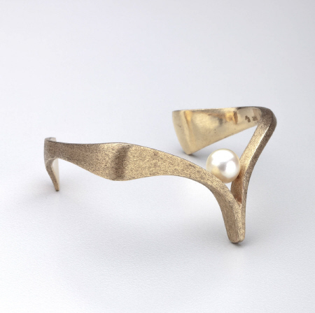 Ed Wiener Gold and Pearl  Cuff Bracelet