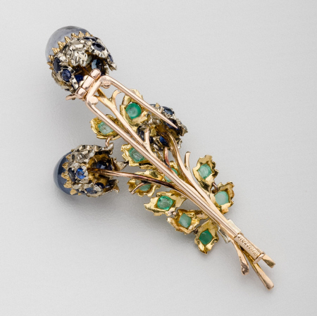 Buccellati Gold Floral Brooch with Sapphire, Emerald & Diamonds