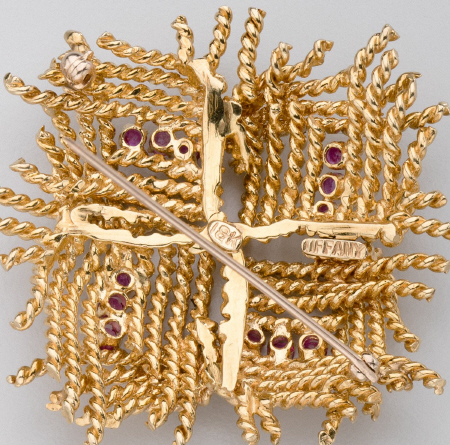 Tiffany & Company Gold Brooch with Rubies