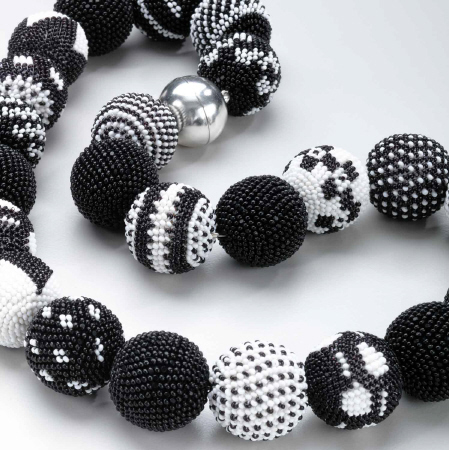 Wiener Werkstatte Black & White Round Beaded Necklace