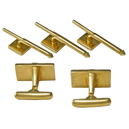 Cartier Cufflink and Stud Set 14kt Gold & Diamond