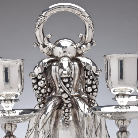 Pair of Vintage Georg Jensen Five-Light Candelabra No. 383A