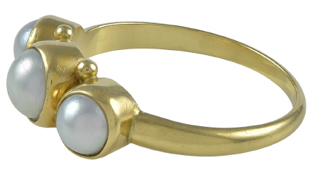 Georg Jensen Gold Ring No. 1003 with Pearls