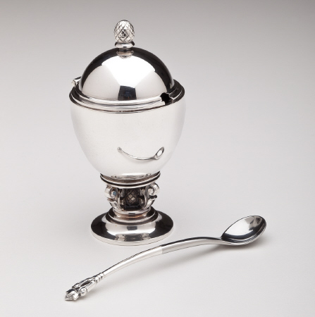 Georg Jensen Acorn Mustard Pot & Spoon No. 741