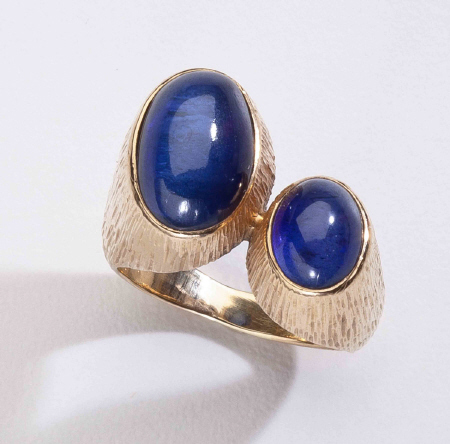 Georg Jensen Gold Ring No. 867 with Synthetic Sapphire