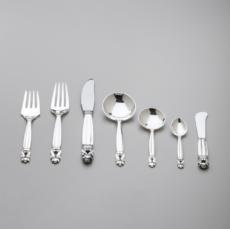 Georg Jensen Sterling Silver Seven piece place setting,  Flatware Service for Twelve in Acorn Pattern