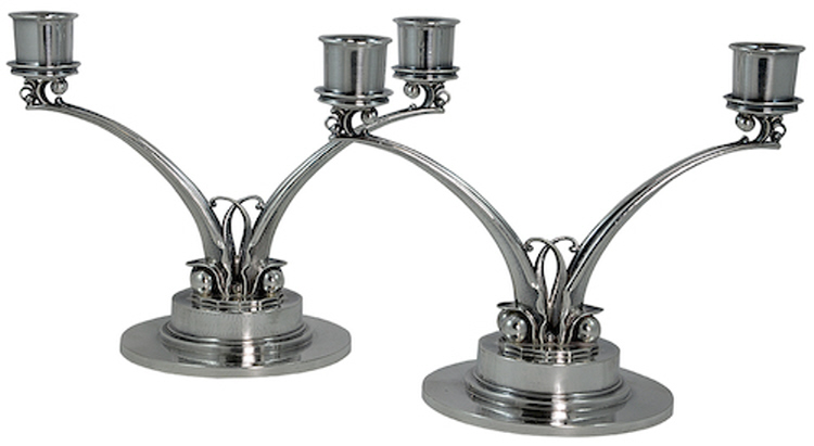 Georg Jensen Silver Candlesticks No. 278