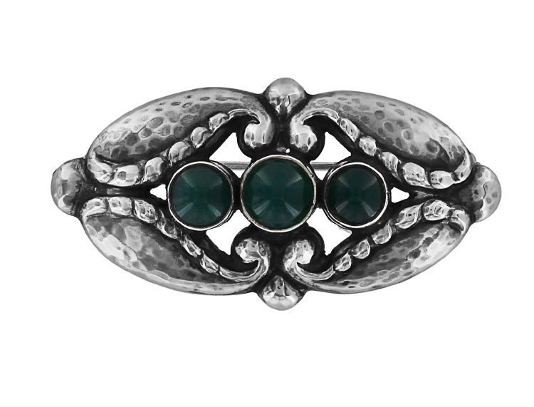 Georg Jensen Brooch No. 156 with Green Agate