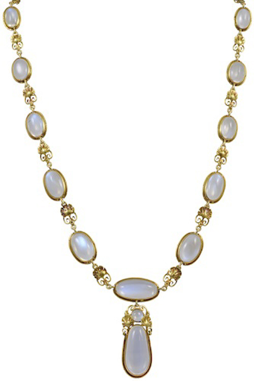 American Arts & Crafts Period Moonstone and Gold Necklace, by Edward Oakes