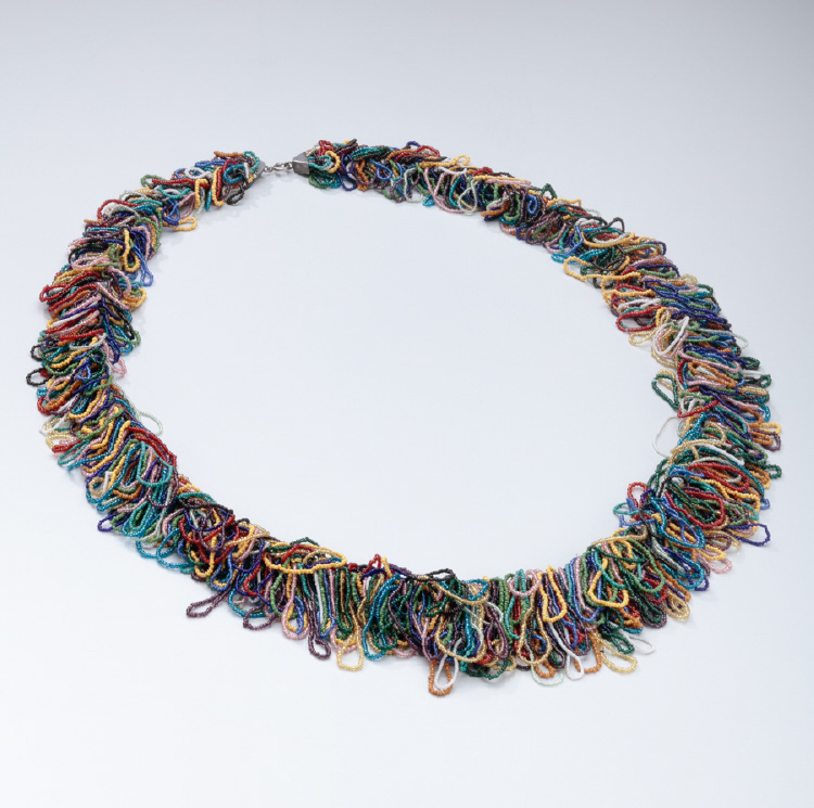 Wiener Werkstatte Colored Glass Beaded Fringe Necklace