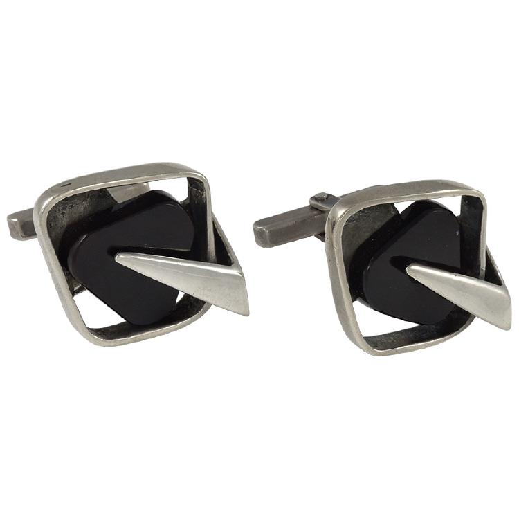 Margaret De Patta Sterling and Onyx Cufflinks