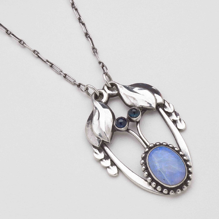 Georg Jensen Pendant Necklace No. 4 with Opal & Spectrolite
