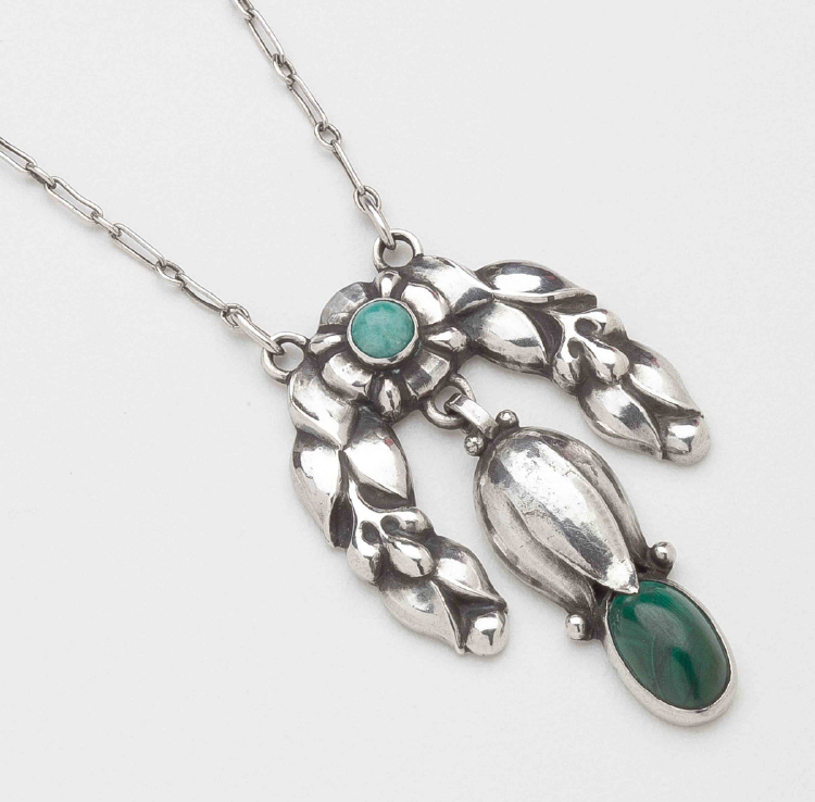 Georg Jensen Silver Pendant Necklace No. 13 with Malachite & Amazonite