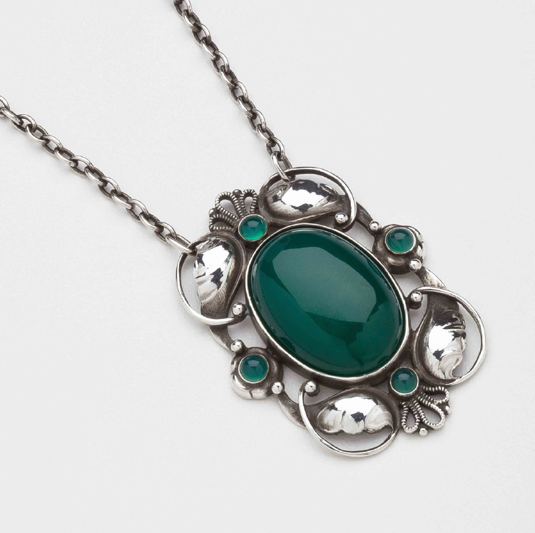 Georg Jensen Pendant Necklace No. 171 with Green Agate