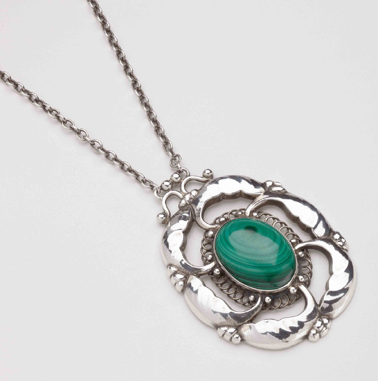 Georg Jensen Pendant Necklace No. 48 with Malachite
