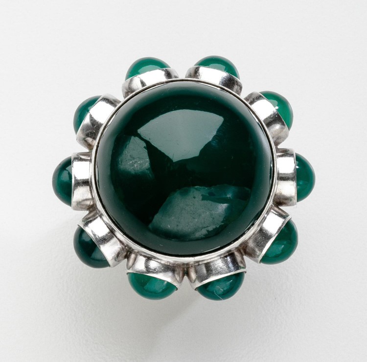 Danish Modern Georg Jensen Ring No. 166 with Green Agate by Astrid Fog
