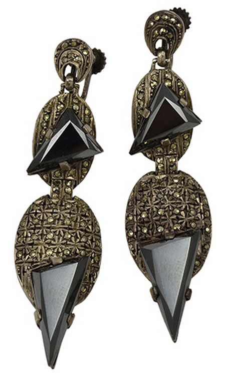 Art Deco Sterling Silver Marcasite Hematite Earrings by Theodor Farhner
