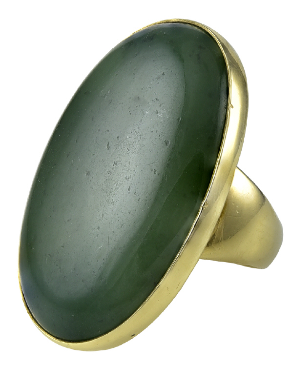 Georg Jensen Gold Ring No. 1090B with Jade