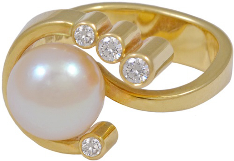 Georg Jensen Gold Ring No. 77 with Pearl & Diamonds