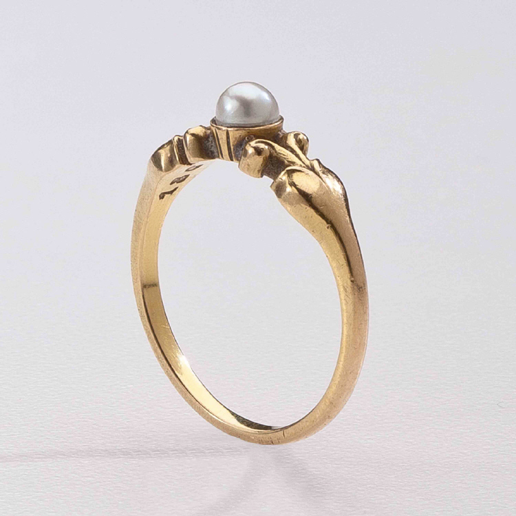 Georg Jensen Gold Ring 180 with Pearl