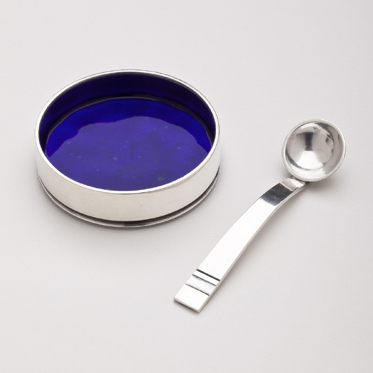 Georg Jensen Open Salt Cellar No. 801 & Spoon in Bernadotte