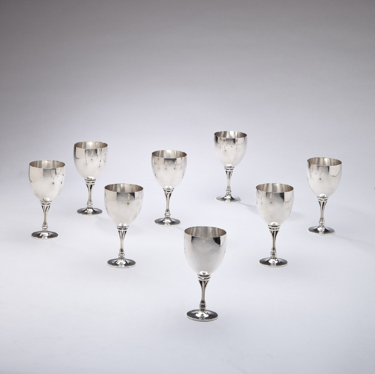 Set of Eight Georg Jensen Sterling Silver Goblet No. 532A