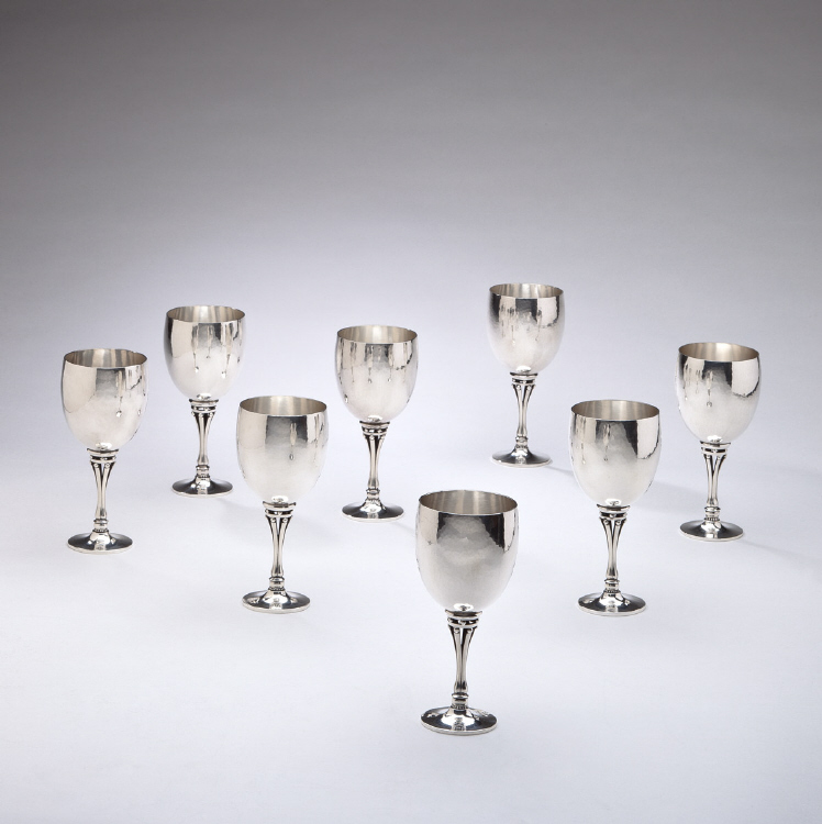Set of Eight Georg Jensen Sterling Silver Goblets No. 532B