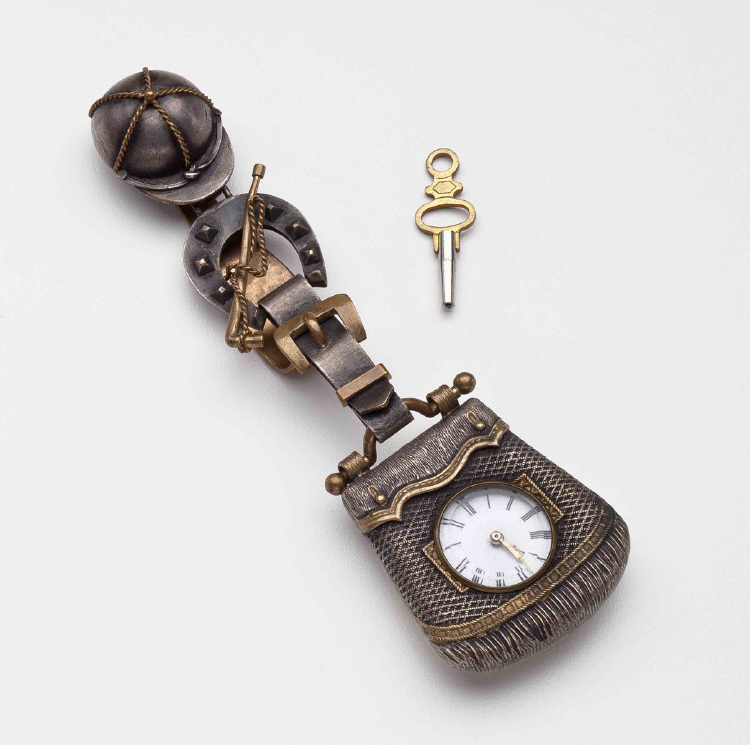 Key-wound watch with equestrian-style case and chatelaine